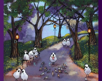Hand Over The Popcorn If You Want To Live   A Small Sheep Pigeons City Park PRINT  from the Original