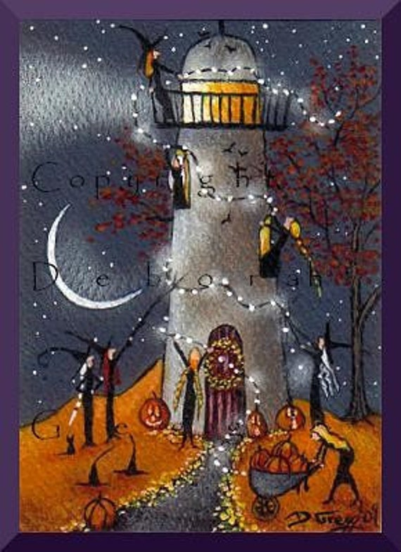 Definitely Needs Some Work   an tiny Lighthouse Witchs Decorate  For Halloween PRINT