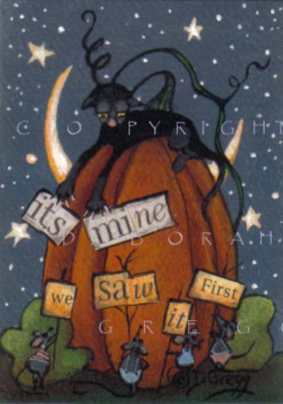 Halloween aceo  Painting War Of Words In The Pumpkin Patch an Original  by Deborah Gregg