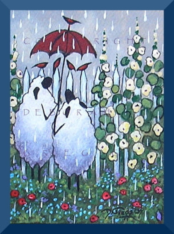 A Conversation In The Rain   An Aceo PRINT from my Original