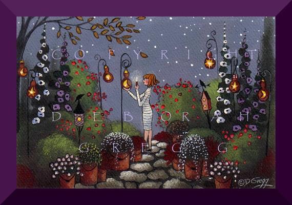 Gourd Lanterns In The Garden   a tiny Garden, Gourd PRINT by Deborah Gregg