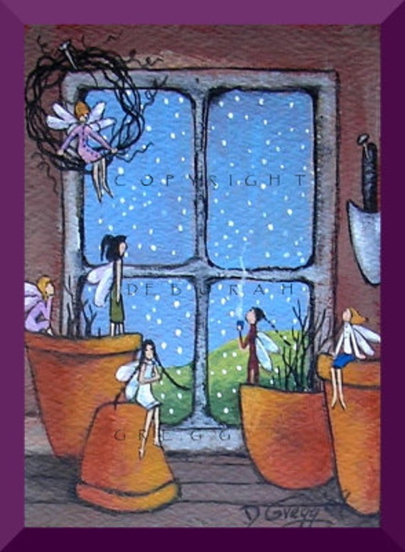 In The Warmth Of the Garden Shed an aceo Fairy Snow PRINT By Deborah Gregg