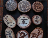 Set of Nine Primitive Rock Art Image Magnets