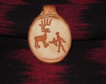 Elk Hunter Rock Art Petroglyph Clay Pendant