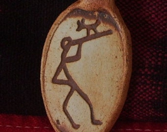 Flute Player with Coyote Rock Art Petroglyph Clay Pendant
