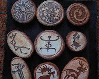 Set of Nine Primitive Rock Art Image Magnets