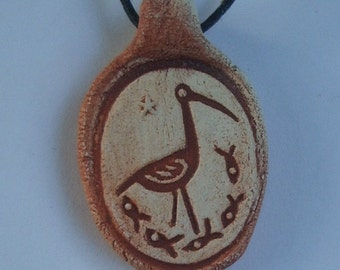 Fishing Heron Clay Pendant Necklace