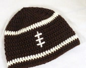 ON SALE Football Baby Boy Hat Crochet Brown & White Shower Holiday Gift Photo Prop Choose Your Size