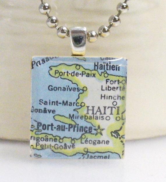 Port au Prince Haiti Vintage Map Scrabble Tile Pendant w Chain Necklace