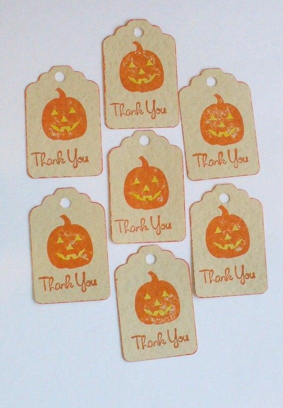 13 Halloween Tags Thank You Cards Pumpkin