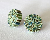 Blue and Green Striped Paper Stud Earrings / Paper Jewelry / Gifts for Her / First Anniversary Gift / Lightweight Earrings/ Stocking Stuffer