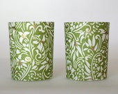 Paper Wrapped Candle Holders - Green and White Swirls - Set of 2 / Home Decor / Housewarming Gift / Wedding Favors / Hostess Gift