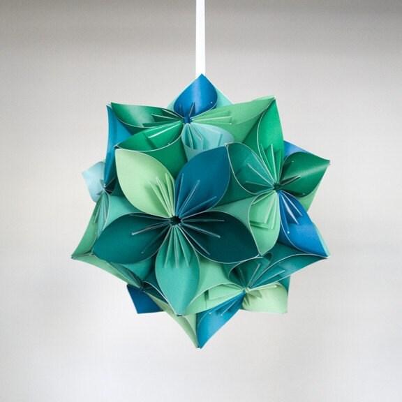 Kusudama Blue/Green Origami Flower Ball - photo#46