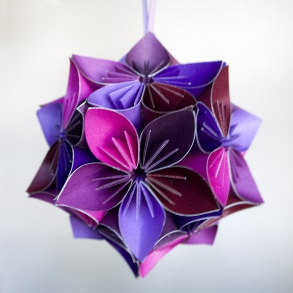 mini kusudama purplepink origami flower ball