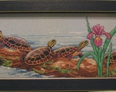 Handmade Finished Framed Counted Cross Stitch Sewing of Turtles on a branch with flowers