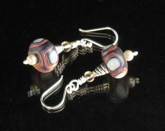 Rustic Clay Silver Dangle Earrings, Polymer Clay Earrings, Earthy Rustic Art Jewelry, Unique Gift for Her, Womens Gift, Boho Earrings Gift