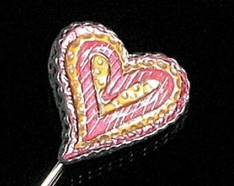 Modern Art Polymer Clay Heart Stick Pin - Valentine's Day Gift Jewelry for Her - Heart Pin - Art Pin - Modern Heart Unique Gift for Women
