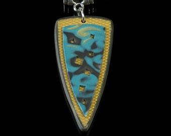 Tribal Pendant Necklace, Unique Polymer Clay Mokume Gane Jewelry, Jewelry Gift, Artisan Jewelry, Tribal Jewelry, Unique Gift for Women
