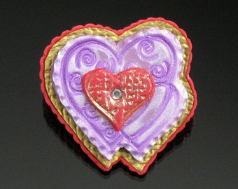 Polymer Clay Heart Pin - Heart Art Jewelry - Valentine's Day Gift Brooch - Polymer Clay Jewelry Chocolate Box Heart - Unique Gift for Women