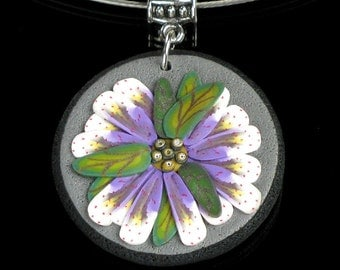 Flower Pendant Necklace, Gift for Mom, Polymer Clay Art Jewelry, Unique Jewelry Gift, Women, Nature Jewelry, Purple & White Floral Jewelry