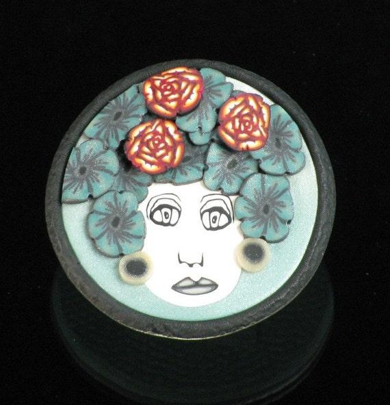 Handmade Floral Woman Polymer Clay Brooch/Pendant - Clay Brooch -  Art Pin - Polymer Clay Jewelry - Art Jewelry - Flower Girl