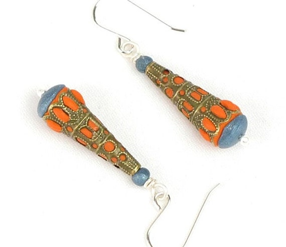 Bronze filigree, polymer clay and sterling silver earrings - Art Jewelry - Scheherazade 2