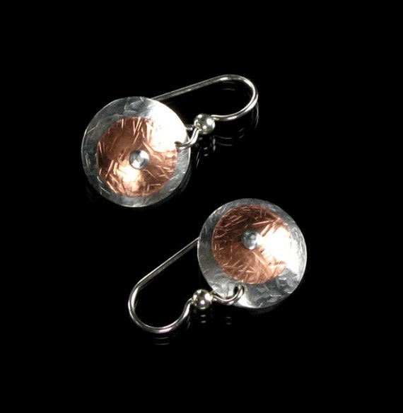 Copper, Aluminum & Sterling Silver Hand-forged Earrings - Mixed Metal Jewelry - Metal Earrings - Metal Mix II