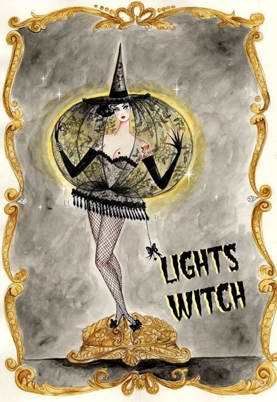 Lights Witch 5x7 handmade glittery greetings card