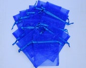 100 Organza Bags 3x4 inch Royal Blue