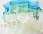 60 Organza Bags,  3x4 inch, mint, aqua, and ivory