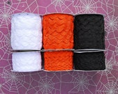 3 colors, 2 sizes of RIC RAC, 25 yds. each, total 150 yds. black, white, and orange