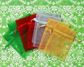 Organza Bags 3x4 inch 100 multi color Emerald Green, Red, Silver, and Gold