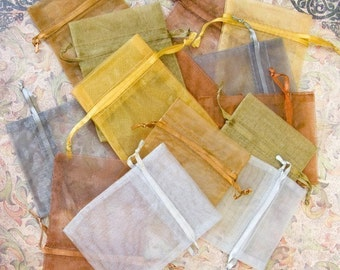 Organza Bags 3x4 inch 50 multi metallic, gold, copper, silver, platinum, old gold, bronze