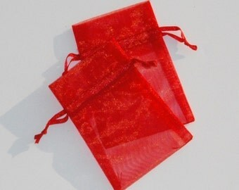 100 Organza Bags 3x4 inch Red