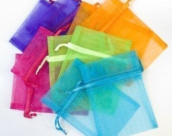 100 Organza Favor Bags, 3x4 inch, multi color jewel tones, orange, hot pink, purple, bright green, aqua