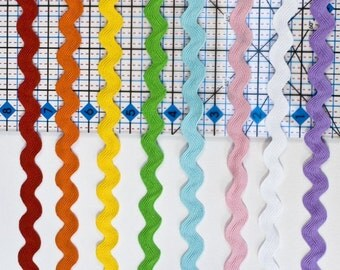 16 Yards of Jumbo Ric Rac, 5/8ths inch, 8 Colors, 2 yds. of each, Rick Rack, Ricrac, Rickrack