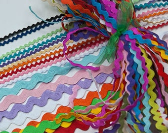 34 Piece Variety Bundle of Multi Sized Ric Rac, 1/2, 3/8, and1/8ths inch, Multi Color Bundle, 1 yard of each of 34 different styles
