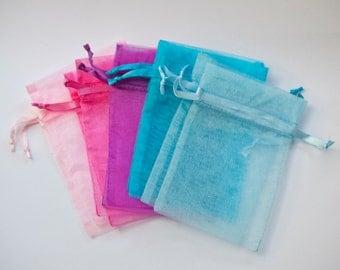 100 Organza Bags, 3x4 inch, multi color, light pink, hot pink, purple, aqua, light blue