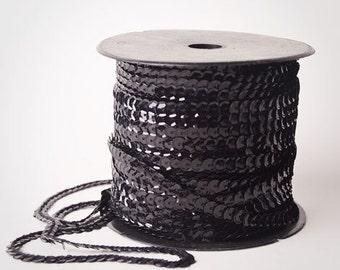 80 yard full spool, Black Single Strand Sequin Trim