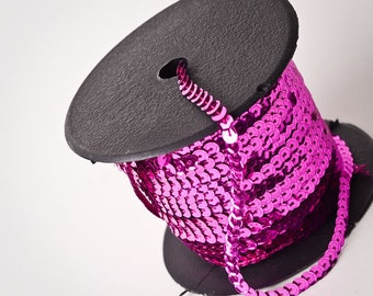 10 yards, Hot Pink Sequin Trim