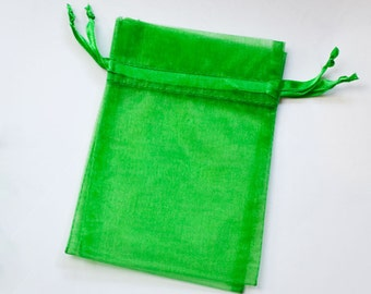 100 3x4 Organza Bags, Emerald Green