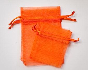 50 Orange Organza Bags, 4 x 6