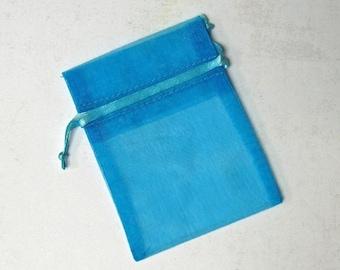 60 Organza Bags, 3 x 4 inches, Aqua Turquoise