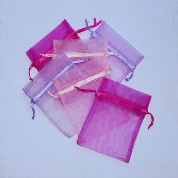 Organza Bags 3x4 inch 60 multi color pinks