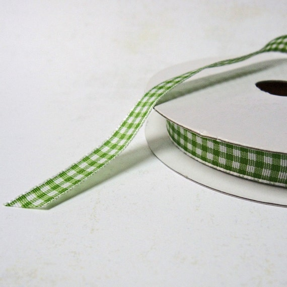 Lt. Green Gingham Ribbon, 5 yds. 3/8 inches