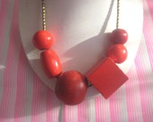 chunky red wooden bead necklace