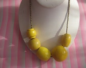 large yellow beaded necklace