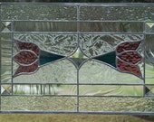 Handmade Stained Glass Victorian Twin Tulips Panel