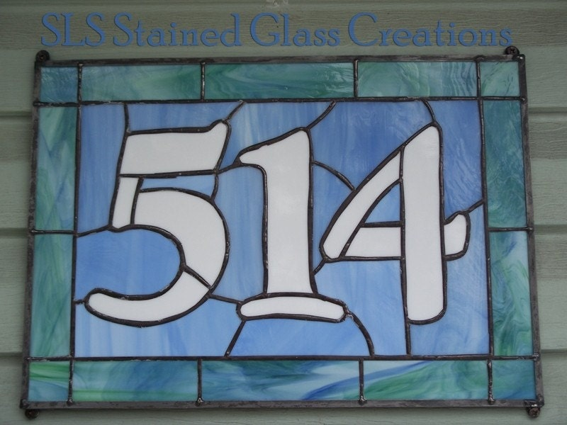 Handmade Stained Glass House Numbers