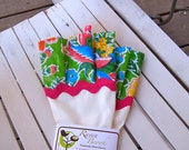 Domestic Diva Dish Gloves - White with Green and Blue Floral Oil Cloth (Latex Free - Size M)